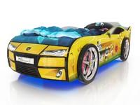 Кровать-машина Kiddy желтая со зверятами