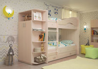 Двухъярусная кровать Мая с ящиками и шкафом