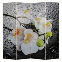 Ширма 1111-4 Белая орхидея и капли 4 панели