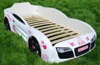 Кровать-машина R2 белая с розовым