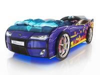 Кровать-машина Kiddy синяя с пазлами