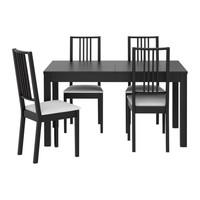 БЬЮРСТА/ БЁРЬЕ Стол и 4 стула, коричнево-чёрный, Гобо белый
