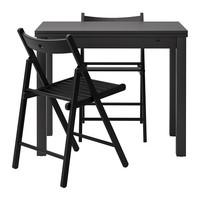 БЬЮРСТА/ ТЕРЬЕ Стол и 2 стула, коричнево-чёрный, черный