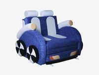 Детский диван Машинка ткань-синяя, белая