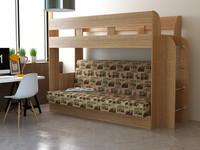 Кровать 2-х ярусная с диваном Дивная