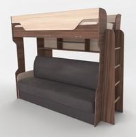 Кровать Спутник 3 двухъярусная с диваном 2