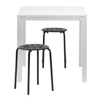 МЕЛЬТОРП/ МАРИУС Стол и 2 стула, белый, черный