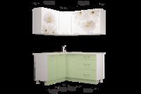 Кухня флоренс угловая зеленый/белый глянец 1.4х1.6